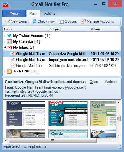 Gmail Notifier Pro main window