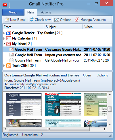 Gmail notifications in Windows 7