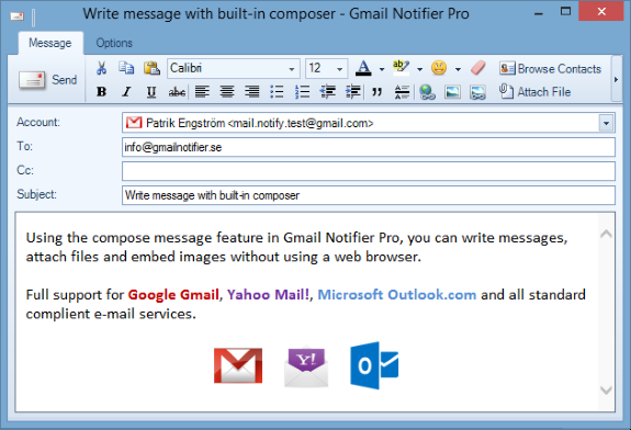 Compose e-mail in Windows with Gmail Notifier Pro